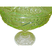 SALE EAPG Vaseline Footed Consul Bowl
