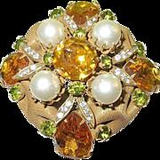 SALE Vintage Lg Vendome Brooch Faux Pearls & Faux Stones