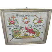 SALE Antique German Sampler 1866 Needlepoint