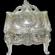 SALE Vintage Jewelry Casket Escritoire Design in Silver Plate