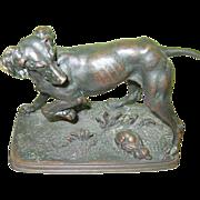"""SALE Antique Bronze 19th Century Ferdinand Pautrot 1832-1874 """"Hound & Hare"""""""