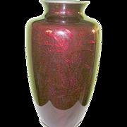 "SALE Vintage Japanese Pigeon Blood Red Enameled Vase 10"""