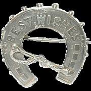 "SALE Victorian Brooch Birmingham Sterling Horseshoe ""Best Wishes"""