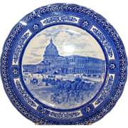 SALE 19th Century Royal Doulton Blue & White Plate U.S. Capitol Building