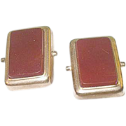 SALE Antique Carnelian & Gold Filled Cuff Links