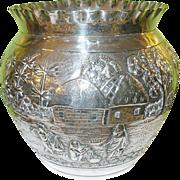 SALE Antique Sterling Repousse Vase Calcutta