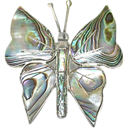 SALE Vintage Taxco Sterling & Abalone Butterfly Brooch by J.R.