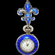 SALE Vintage Blue Enamel Fleur di Lys Pin & Lapel Watch