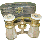 SALE Antique Mother-of-Pearl Opera Glasses & Case French