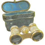 SALE Antique Mother-of-Pearl Opera Glasses & Case