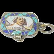 SALE Antique Sterling Egyptian Revival Enamel Locket