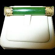 SALE Victorian 10K Jade Brooch Chased Design