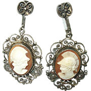 SOLD Vintage 800 Coin Silver Cameo Drop Earrings Openwork