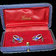 SALE Vintage Gucci Sterling & Blue Enamel Earrings & Original Box