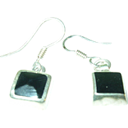 SALE Sterling & Square Black Onyx Drop Earrings