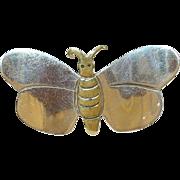 SALE Vintage Sterling & Brass Butterfly Brooch