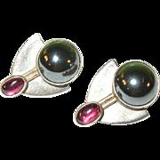 SALE Vintage Sterling Earrings Amethyst & Hematite Modernist Design