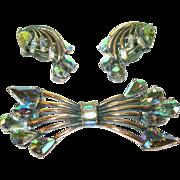 SALE Vintage Hollycraft Brooch & Earring Set Aurora Borealis