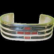 SALE Vintage Sterling & Coral Cuff Bracelet
