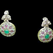 SALE Vintage Sterling & Vermeil Drop Earrings Ruby Emeralds & White Sapphires
