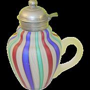 SALE Vintage Czechoslovakian Art Glass Pitcher Multicolored Lace work