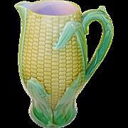 SALE Antique Majolica Corn Pitcher 19th Century