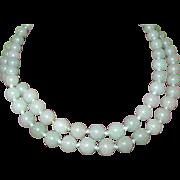 SALE Vintage Green Jade Bead Strand