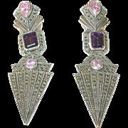 SALE Vintage Sterling Silver Marcasite Earrings