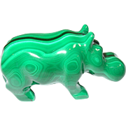 SALE Vintage Hand Carved Miniature Malachite Hippopotamus