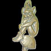 SALE Vintage Bronze Door Knocker Sculptured Gnome Sitting on Mushroom