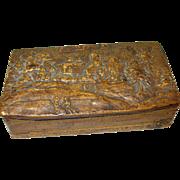 SALE Antique Oriental Birch Box Hand Carved Oriental Scene