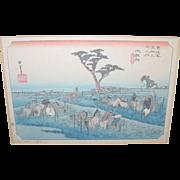 SALE Vintage Japanese Wood Block Hand Colored Prints Set of 3