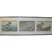 SOLD Vintage Japanese Wood Block Prints Hand Colored Set of 3