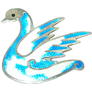 "SALE Vintage Sterling Silver ""Jeronimo Fuentes"" Enameled  Swan Brooch"