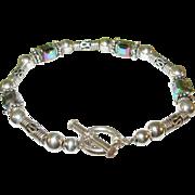 SALE Vintage Sterling Silver Bead Bracelet