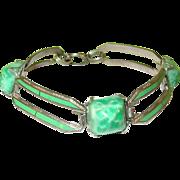 SALE Art Deco Enamel & Czechoslovakian Glass Bracelet