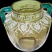 SALE Antique Art Glass Vase Jeweled Hand Applied Handles