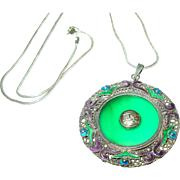 SALE Vintage Sterling Silver Jade & Enamel Pendant
