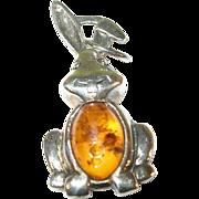 SALE Vintage Sterling Silver & Amber Rabbit Pendant