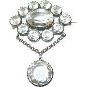 SALE Victorian Sterling Silver & Clear Quartz Brooch