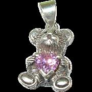 SALE Vintage Sterling Silver Teddy Bear Pendant
