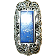 SALE Vintage Sterling Silver Lapis & Marcasite Ring