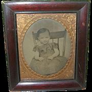 SALE Antique Tin Type Child's Portrait Framed