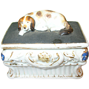 SALE Antique Staffordshire Fairing Dresser Trinket Box