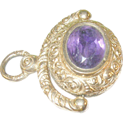 SALE Victorian Gold Filled & Amethyst Watch Fob Repousse Work