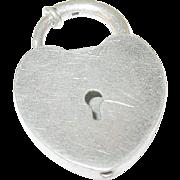 SALE Vintage Sterling Lg Lock Heart Pendant Charm