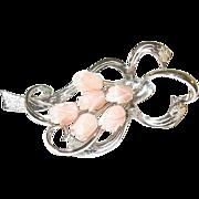 SALE Vintage Sterling & Angel Skin Coral Brooch