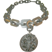 SALE Victorian Gutta Percha Link Necklace & Pendant 1870's