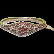 SALE Edwardian Gold Filled Hinged Garnet bracelet