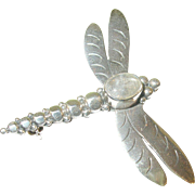 SALE Vintage Sterling & Moonstone Dragonfly Brooch